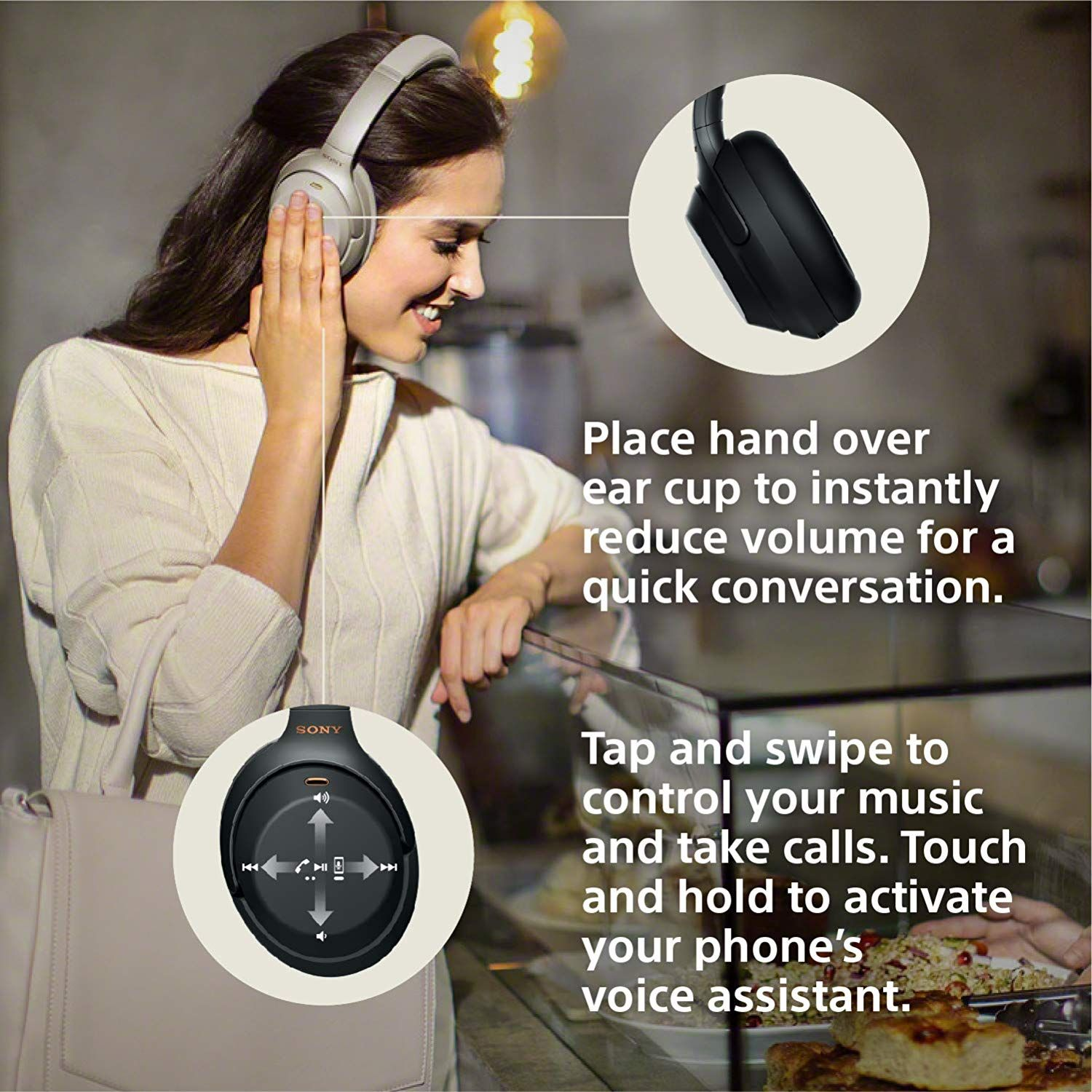 Sony Noise Cancelling Headphones Wh1000xm3 Wireless Bluetooth Over The Ear Headphones With Mic Noise Cancelling Headphones Noise Cancelling Alexa Voice