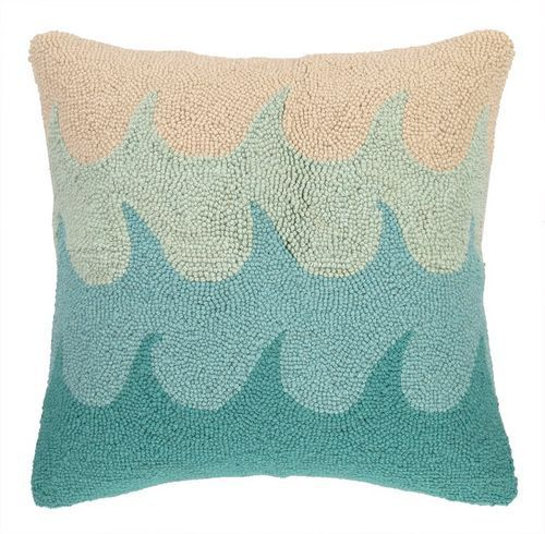 Ocean Waves Hand-Hooked Pillow by TheCoralCrabLLC on Etsy