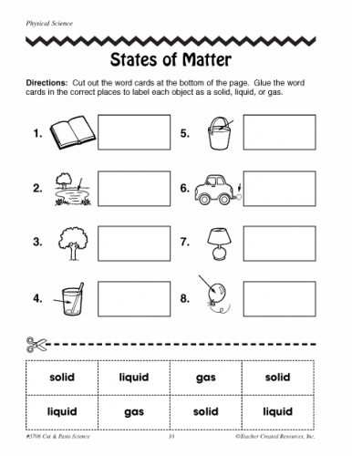 States of Matter Worksheets 2nd Grade | Physical science | Science ...