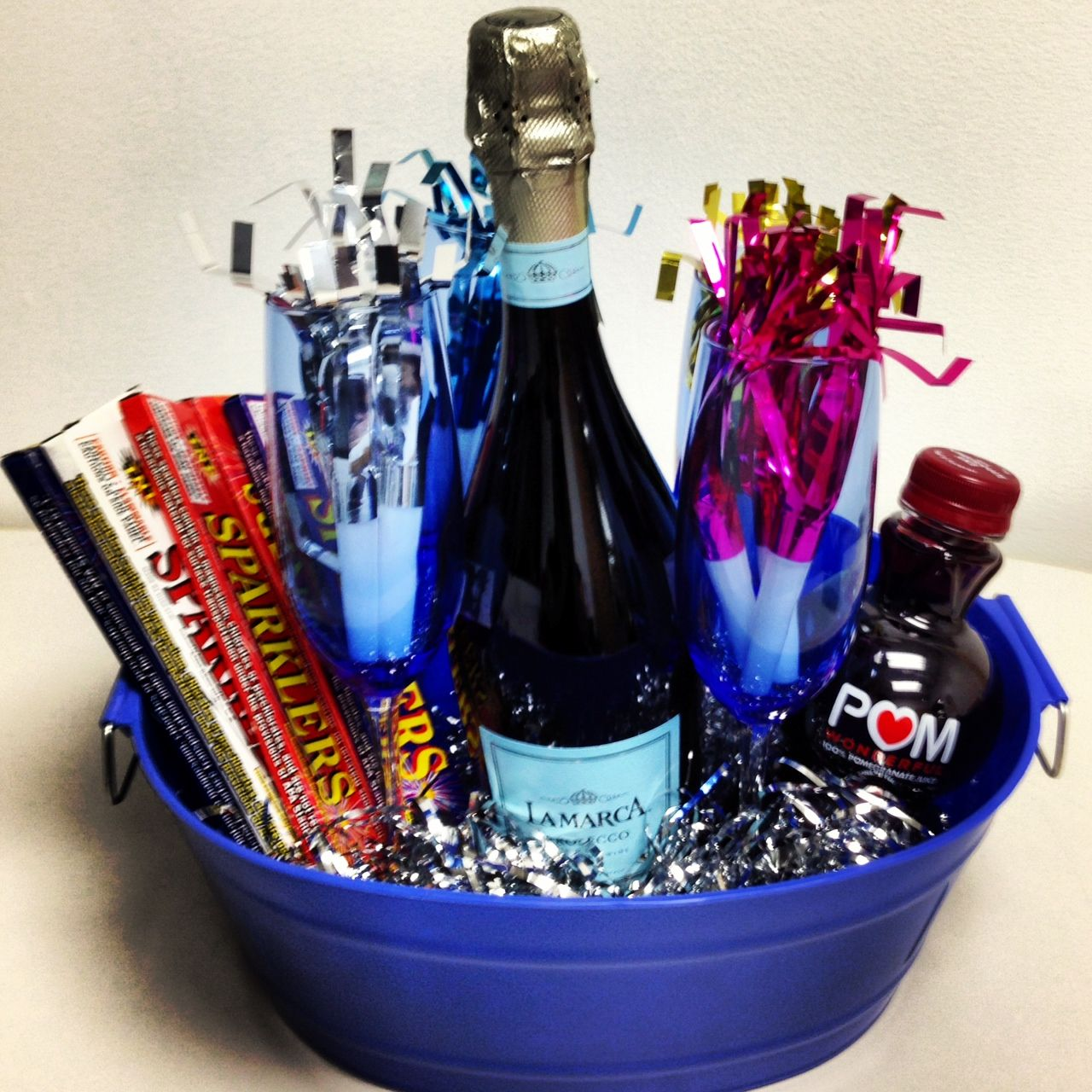 New Year's Eve Basket- I created this as a hostess gift ...