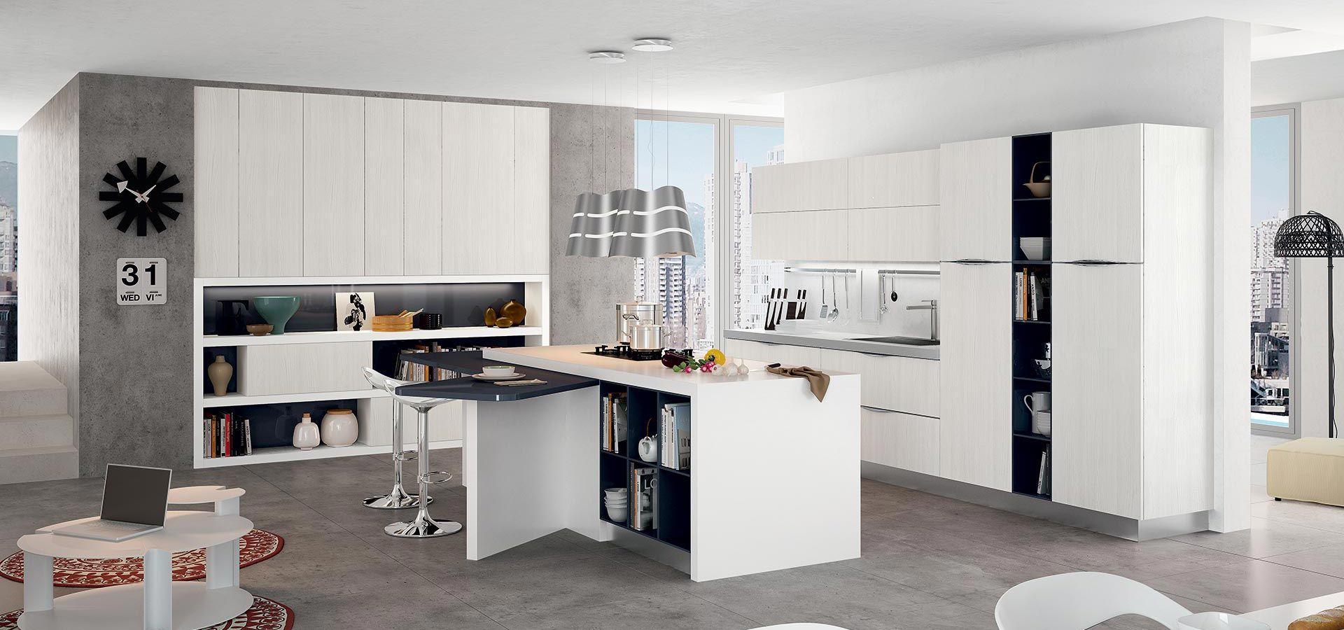 Cucina Moderna - Round Finitura nebbia | Vani a giorno polimerico ...