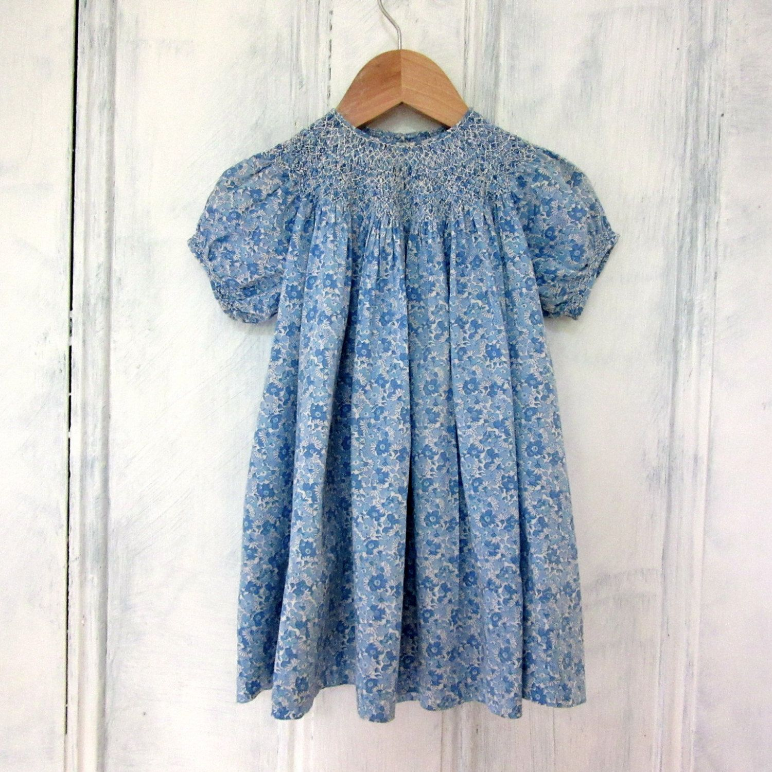 Reserve for Nan - Vintage Girls Smocked Dress - Liberty of London ...