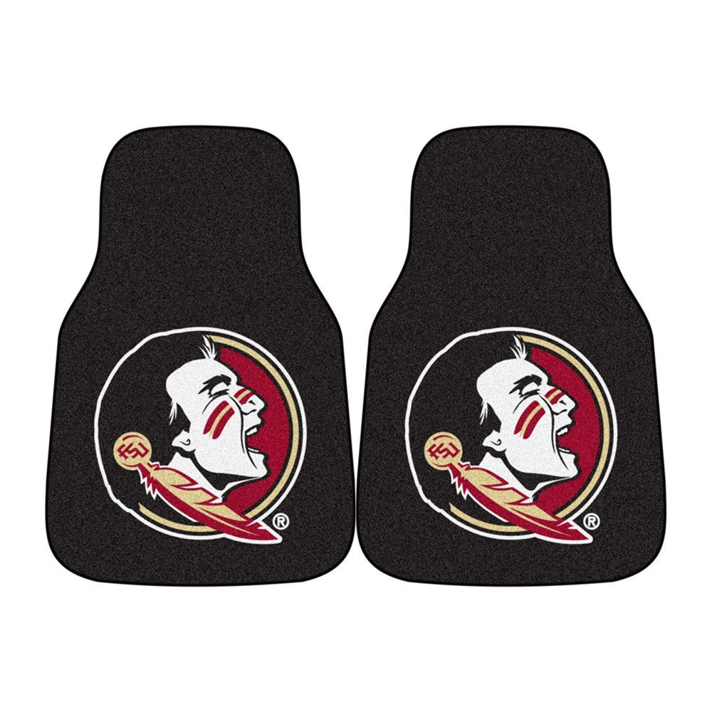 Florida State Seminoles NCAA Car Floor Mats (2 Front) Seminole Logo on Black