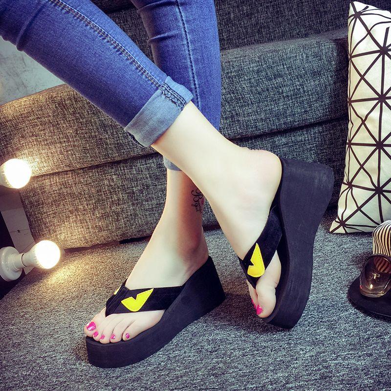 Sweet summer high heel flip flops Korean non-slip sandals