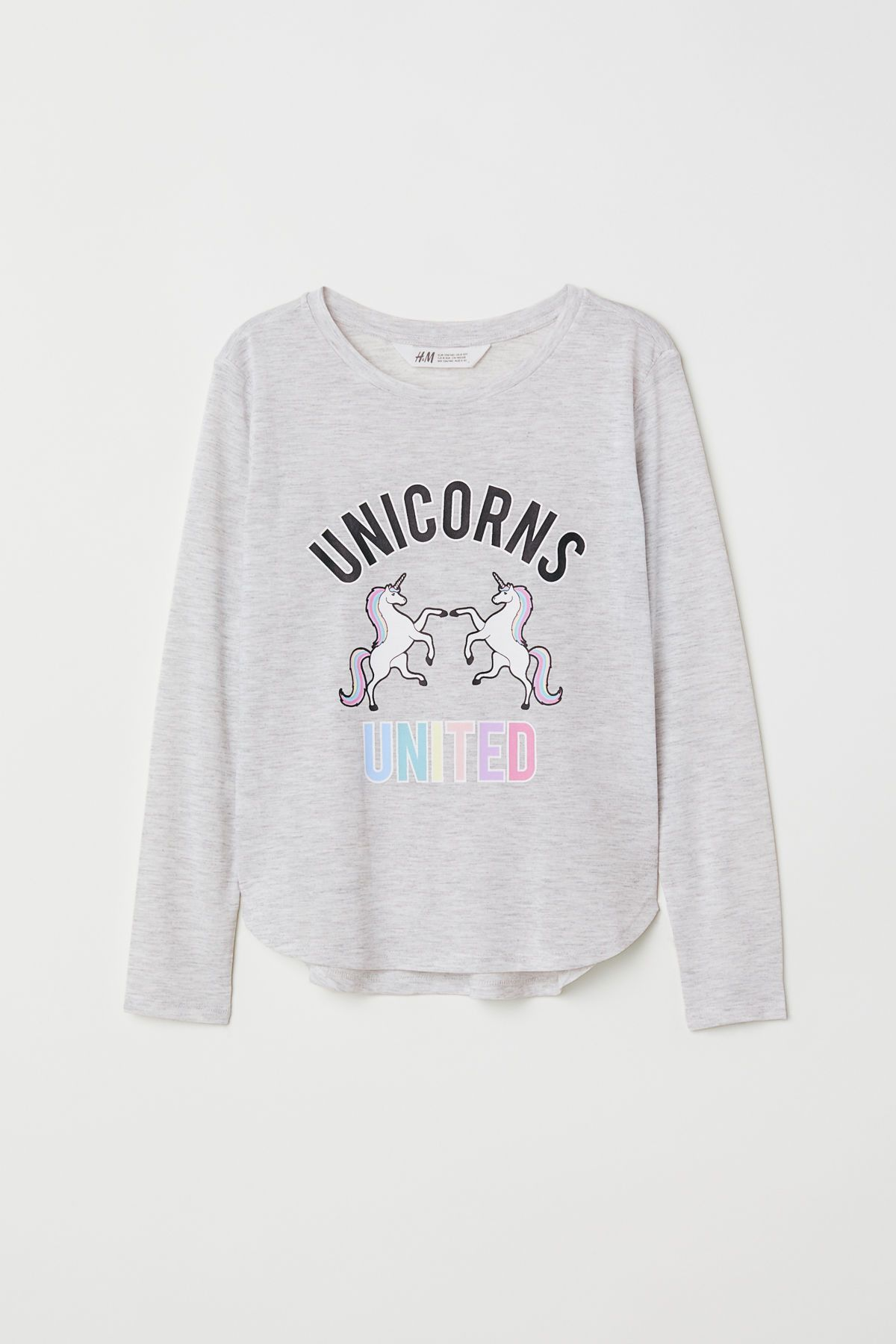 60db3d45d Jersey Top with Printed Design | Light gray melange/unicorns | KIDS | H&M US