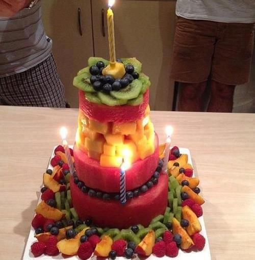 Birthday cake made from fruit from Academy 360 Denver CO