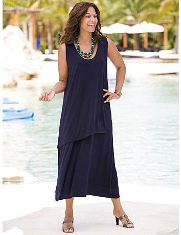 This Flowy Double Tier Knit Tank Dress By Ulla Popken Is Perfect For