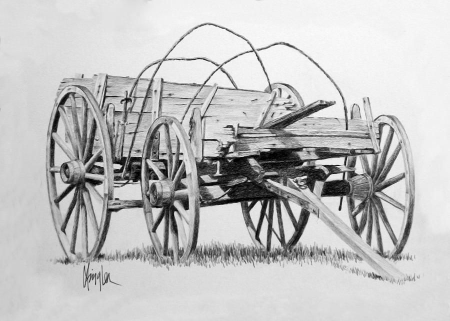 Pencil Drawings Of Wagons Wooden Wagon Painting By Gaylon Dingler
