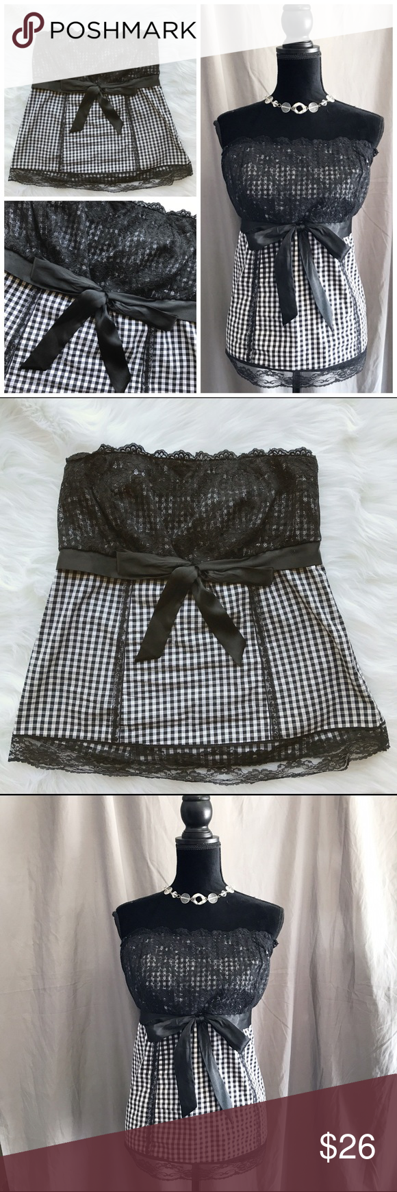 Torrid Gingham Lace Strapless Corset Style Top 1X Adorable black ...