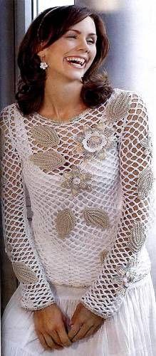 Scheme de tricotat un pulover tricotat - schemă - Lecții de croșetat - Croșetat, scheme de a croșetat