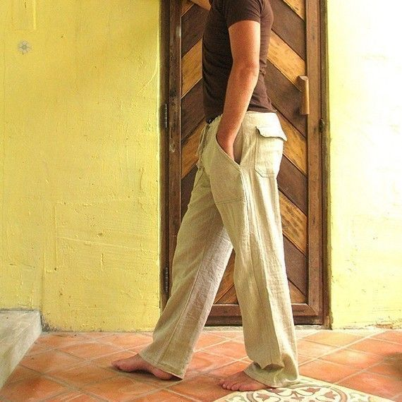 Men S 100 Percent Hemp Pants Ivory And Available In All Colour And All Sizes Hemp Fashion Hemp Clothing Attractive Clothing