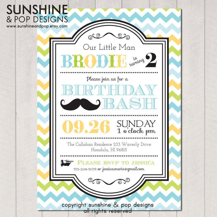 Little Man Mustache Birthday Printable Invitations - Green/Blue ...