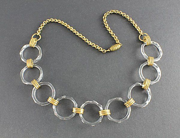 Art Deco Glass Circles Necklace 1930s jewelry - #art #deco #glass #circle #necklace
