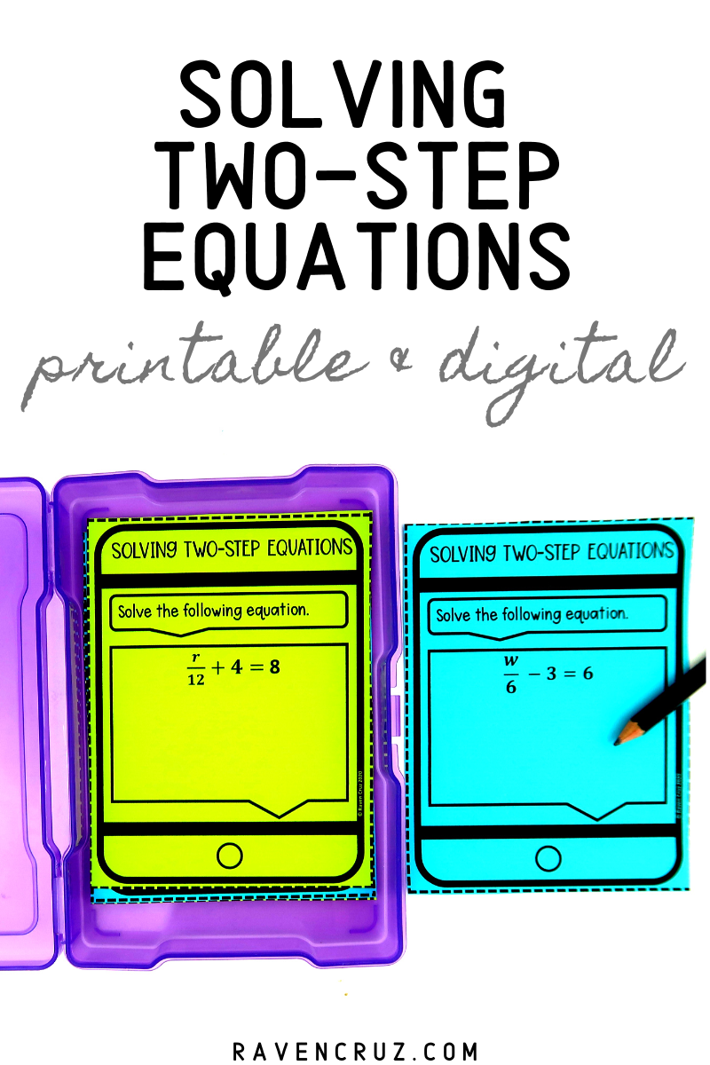Solving TwoStep Equations Task Cards Classroom and