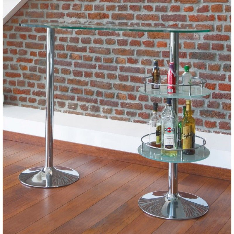 Meuble bar design BORA BORA en verre et métal chromé (transparent