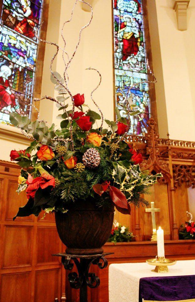 church pedestal Christmas floral arrangements, Christmas