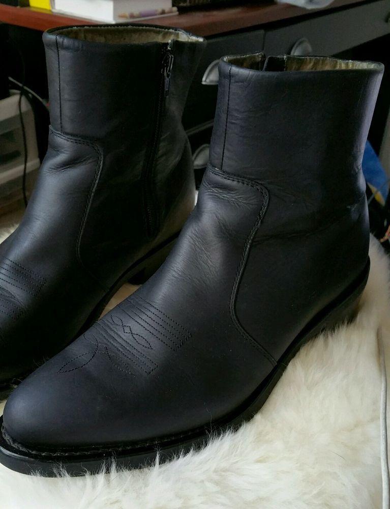 Durango Men's Black Side zip Western Cowboy Boots size 9.5 EE Excellent #Durango #CowboyWestern