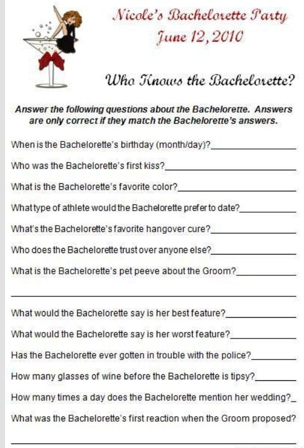 Bachelorette Party Game Activity