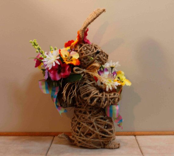 Easter Bunny Wire Topiary Brown Roping Baskets of by PamsDeZines