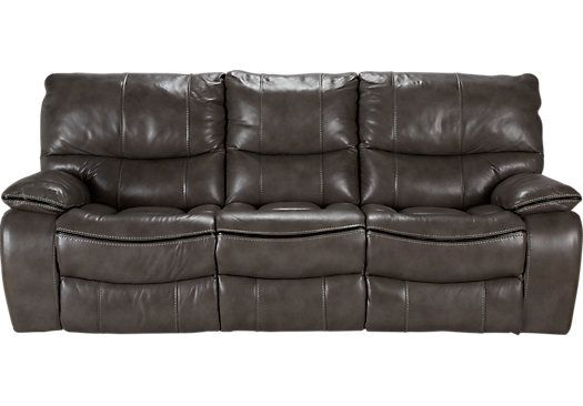 Best Cindy Crawford Home Gianna Gray Leather Reclining Sofa 400 x 300