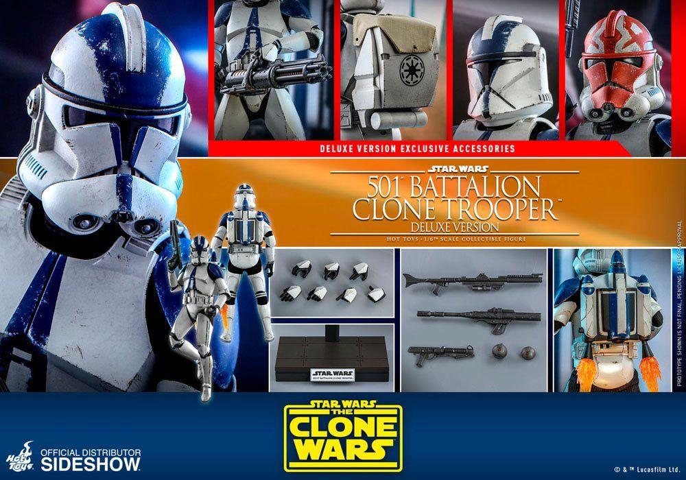 Vorbestellung Star Wars The Clone Wars 1 6 501st Battalion Clone Trooper 30 Cm Actionfigur Deluxe Klon Soldat Clone Wars Star Wars
