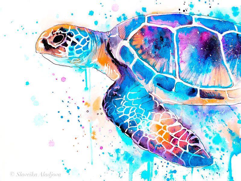 Blue Sea Turtle Watercolor Painting Print By Slaveika Aladjova