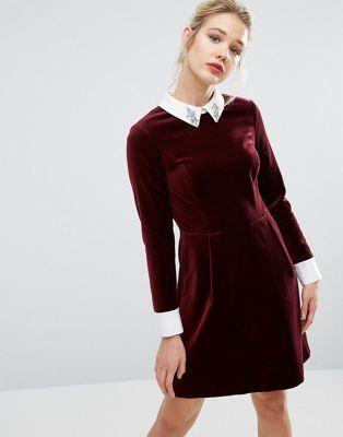1dfc5c42c53 Бархатное платье с декорированным воротником Ted Baker