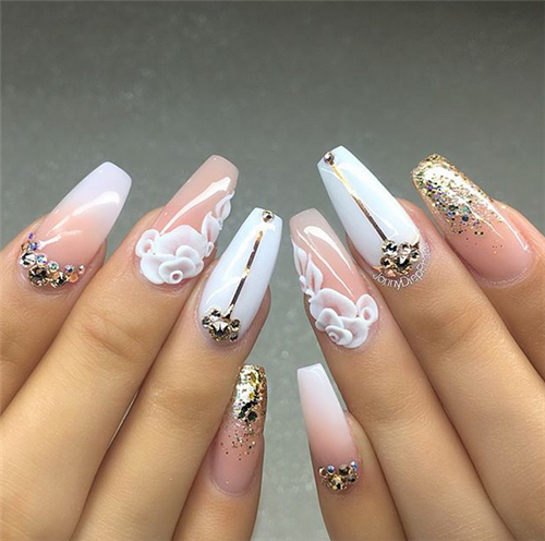200 3d Nail Art That Will Help You Rock 2020 In 2020 Bride Nails Ballerina Nails Nail Art Wedding