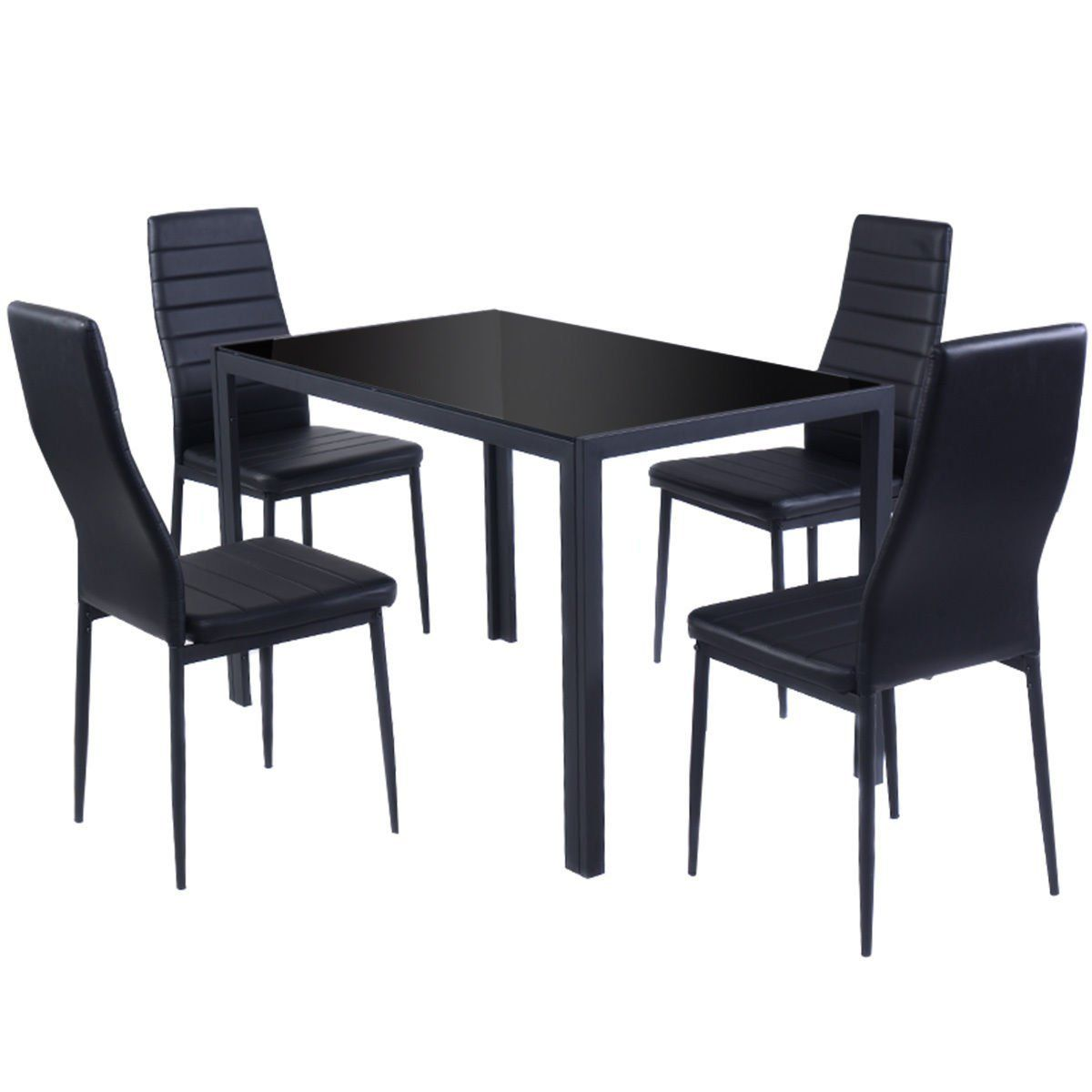 5 Piece Kitchen Dining Set Glass Metal Table and 4 Chairs Breakfast ...