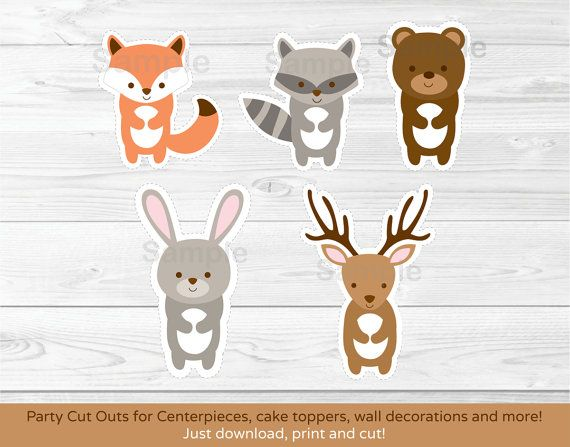 Woodland Forest Animal Cut Outs Fox Deer Bear Raccoon Rabbit Wall Decor Party Printable INSTANT DOWNLOAD