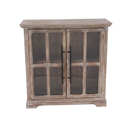 Rustic Wood And Glass 2 Door Cabinet Rustic Wood Living Rooms And