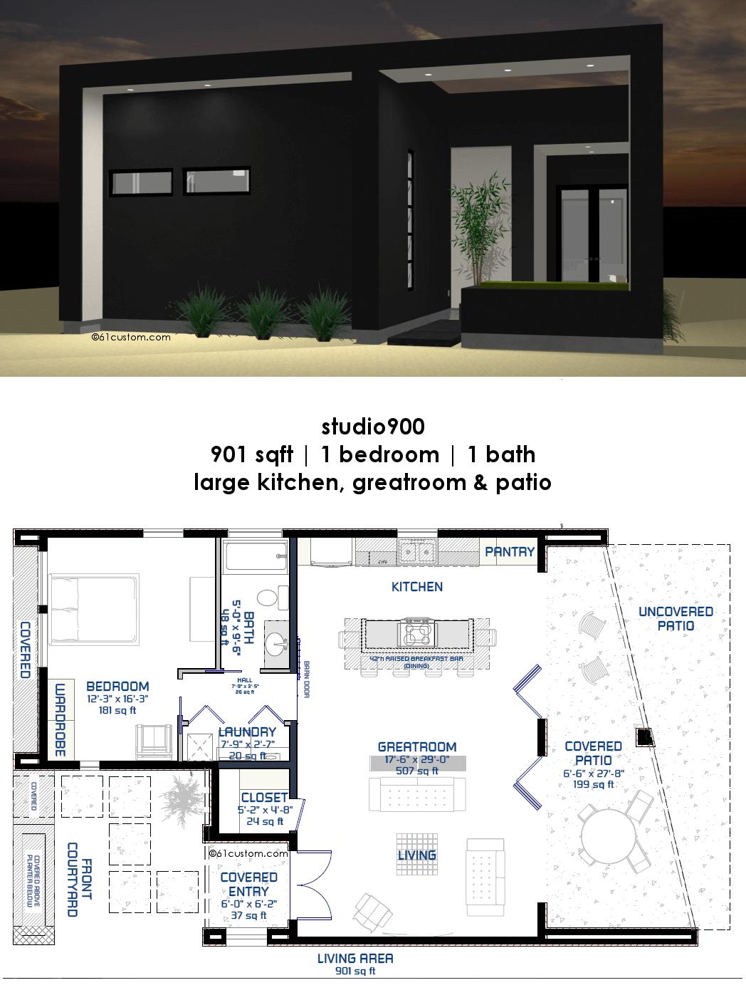 Studio900 Small Courtyard House Plan Modern House Plans