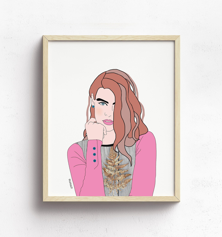 Pink minimalist illustration printable wall art - abstract