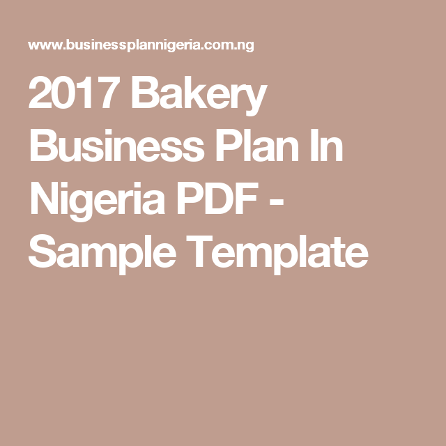 Bakery Business Plan In Nigeria PDF Sample Template - Business plan template pdf