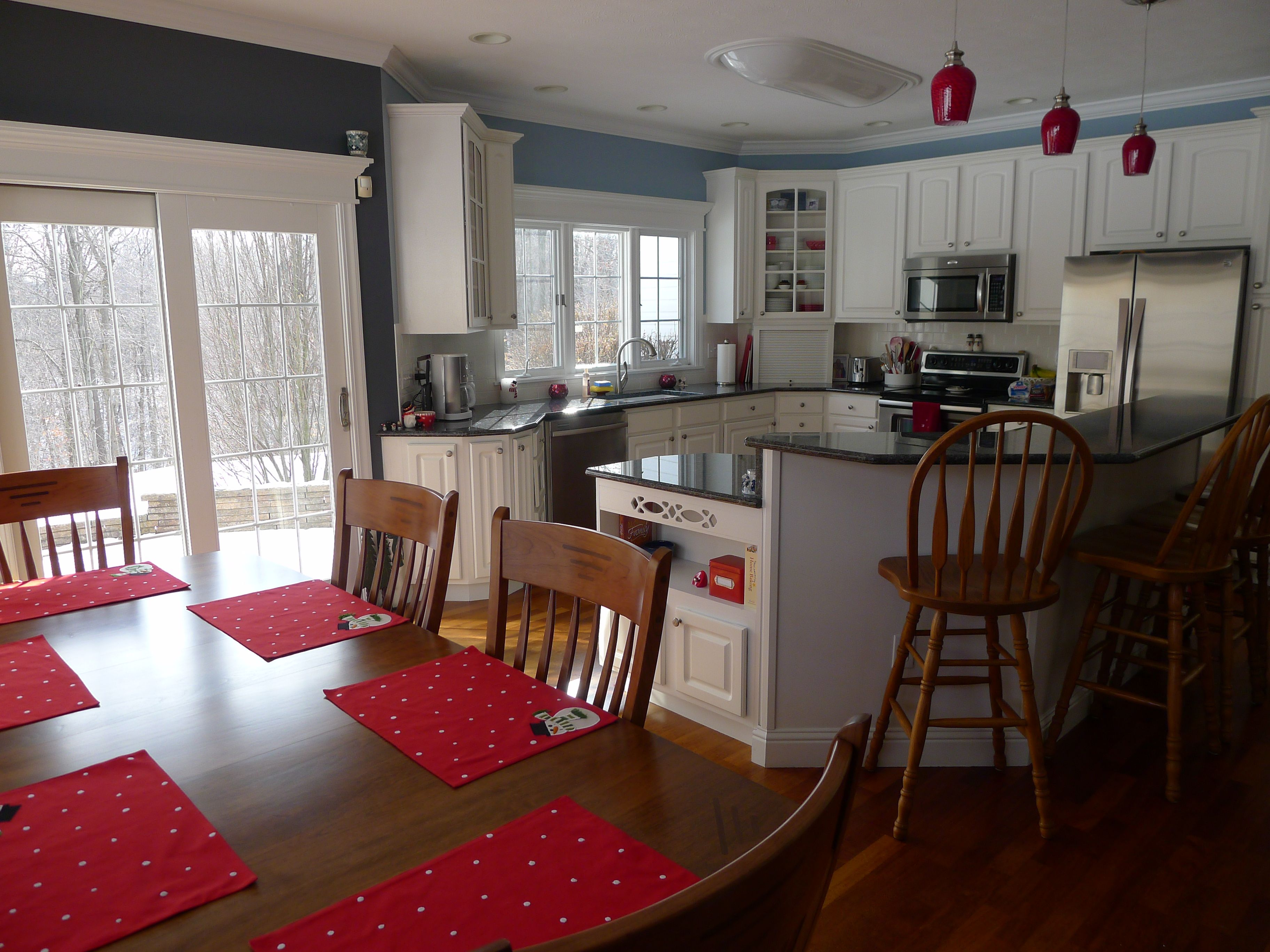 Red Accents Blue And Gray Kitchen With Red Accents Home Pinterest