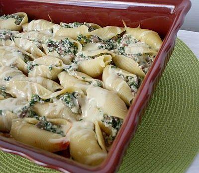 Spinach,Mushroom and Ricotta Stuffed Shells