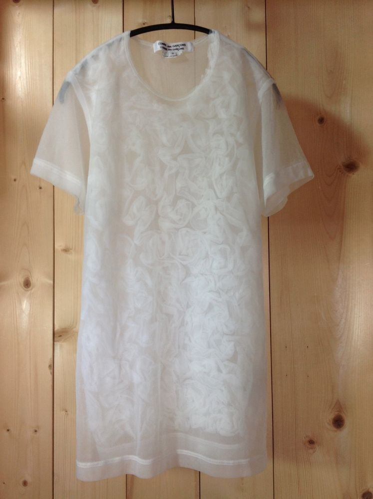 COMME des GARCONS AD2009 Over-Dyed White Sheer Ribbon Patterned Layered T-Shirt