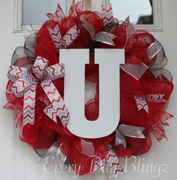University Of Utah Wreath College Wreath By Everydayblingz On Etsy Christmas Mesh Wreaths Diy Decor Crafts Wreath Decor