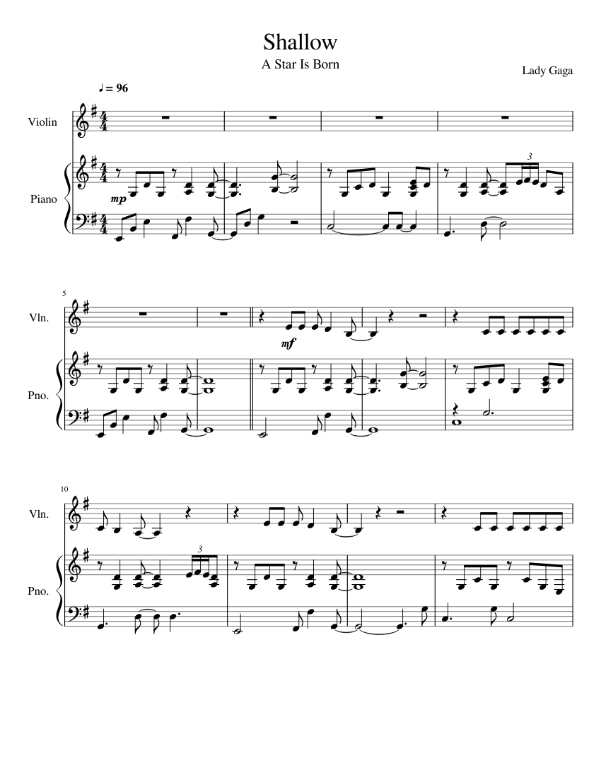 Download And Print In Pdf Or Midi Free Sheet Music For Shallow By Lady Gaga Arranged By Andrew Weaver For Piano Vio In 2021 Song Notes Violin Sheet Music Violin Music