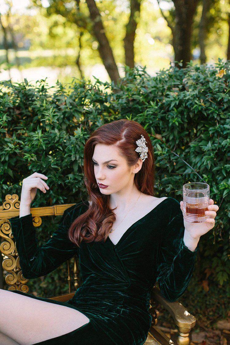 Redhead In Velvet Green Dress Drinking Whiskey Green Dress Makeup Green Velvet Wedding Dress Green Wedding Dresses