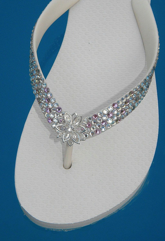 8a422d4a5fb41 Glass Slippers Swarovski CRYSTAL BRIDAL Havaianas   Cariris Brand Wedding  Beach Shoe Flip Flops.  139.95