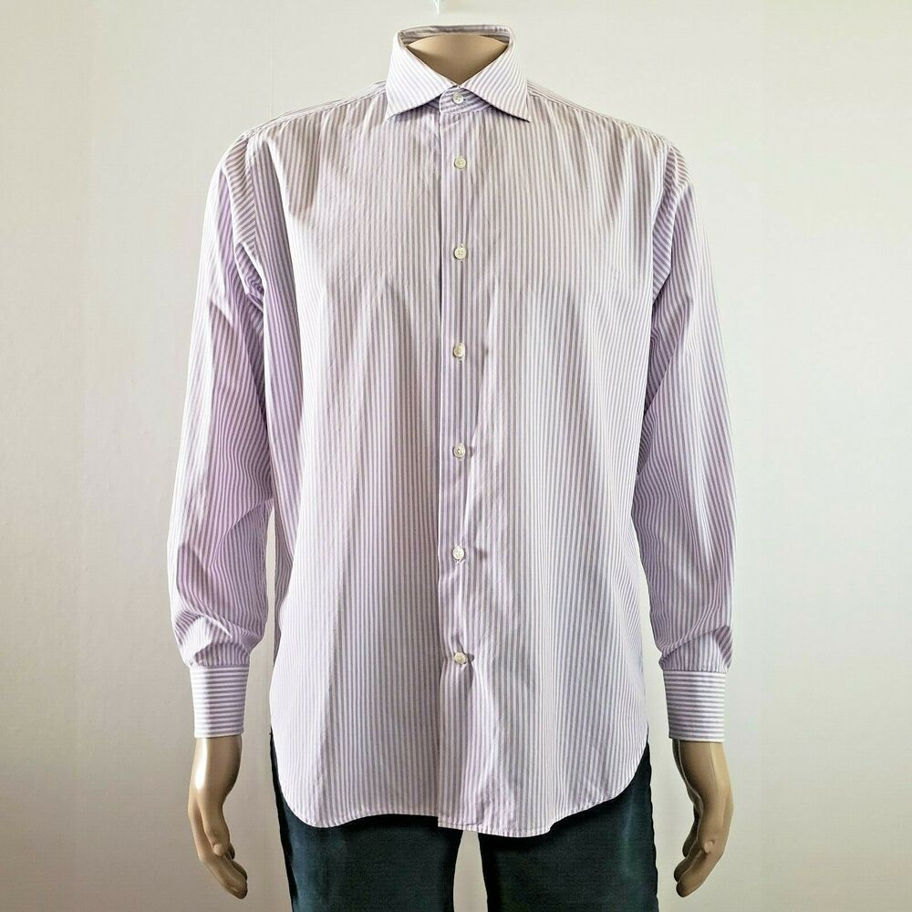 Saks Fifth Avenue Mens Classic Fit Dress Shirt 2 Ply Cotton