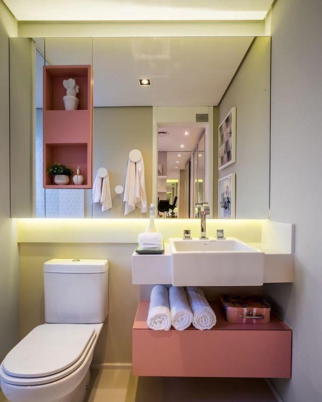 Nicho Bancada Banheiro : Bathroom banheiro com cara de menina gavet?o inferior