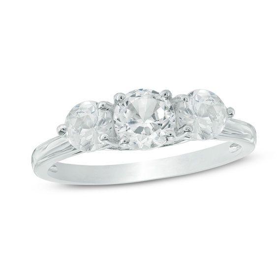 Zales 5.2mm Lab-Created White Sapphire Three Stone Bypass Ring in 10K Gold Q04ulEBU