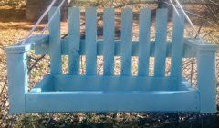 Bird Feeder - Garden Decor - Hanging Bird Feeder - Garden Bird Feeder - Wood Porch Swing Bird Feeder - Garden Art Bird Feeder - Powder Blue Feeder