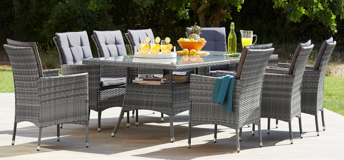 Gartenmobelset Santiago New 25 Tlg 8 Sessel Tisch 200x100 Cm