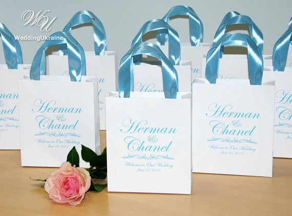 30 Light Blue Personalized paper gift bags for by WeddingUkraine ...