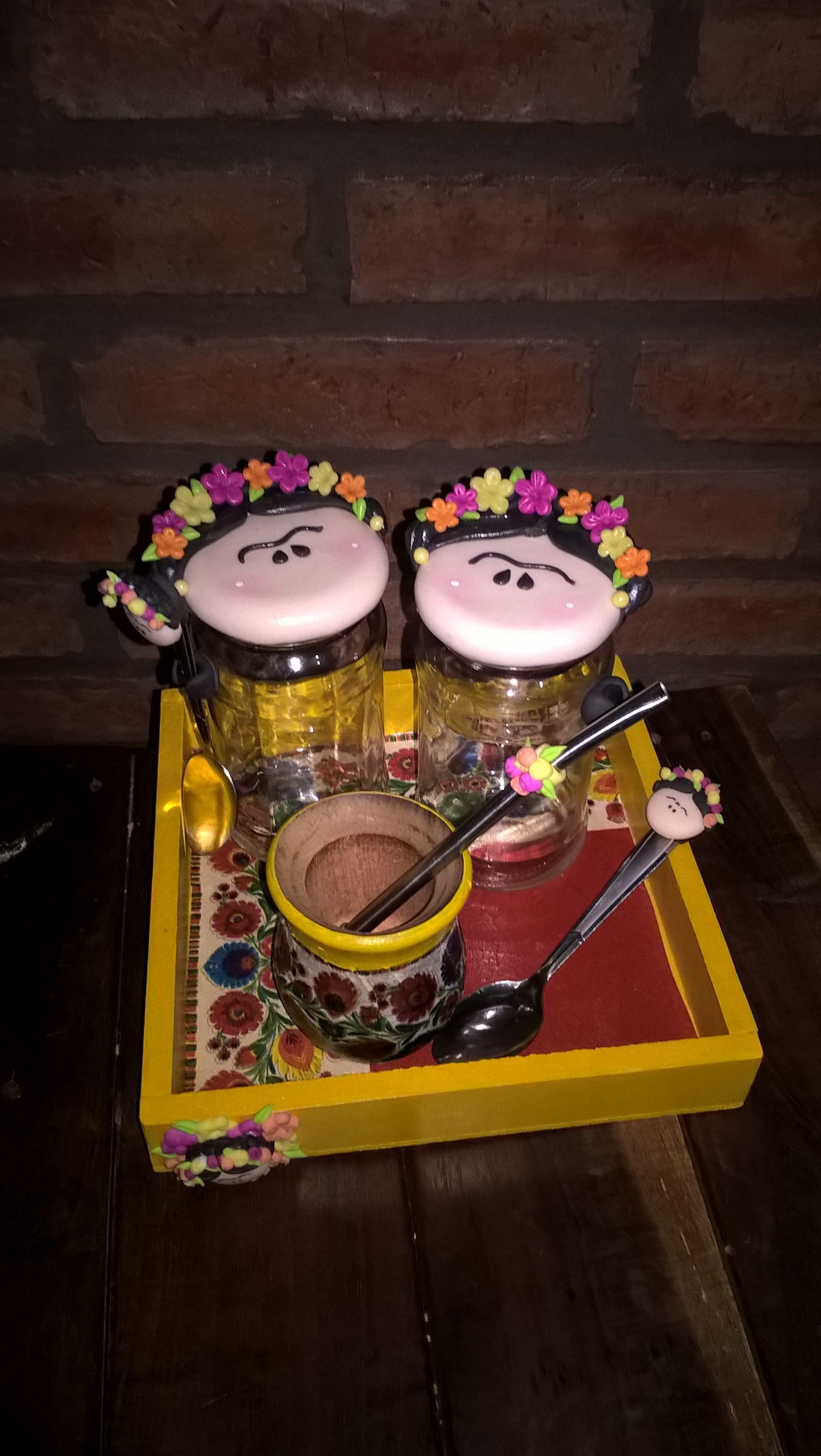 Juego de mate porcelana fría, frascos, madera. Frida Kahlo | mis ...