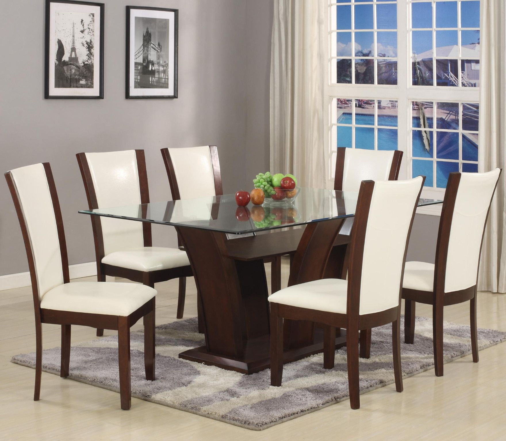 Camelia Dining Room Suite In White Table And 6 Side Chairs 799 00 Measurements Bevel Edge Gl 360 42 X 72 30 H 1210t 4272 Base Leg 12mm