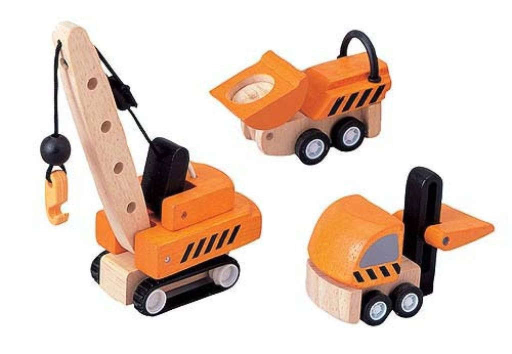 Plantoys Houten set 3 mini Constructiewagens – Plan Toys Car Garage